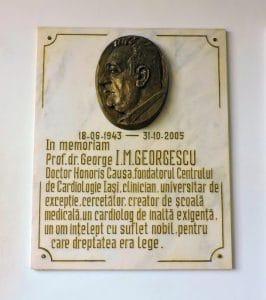 Prof. Dr. George I.M. Georgescu - Plachetă in memoriam la institutul de la Iași