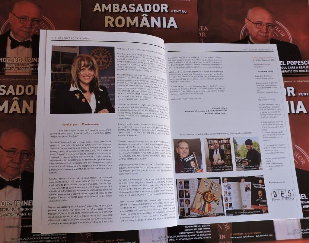 """Editorialul noului număr """"Ambasador pentru România"""" este semnat de Martha M. Mocanu, prima femeie Guvernator al Districtului Rotary România-Republica Moldova"""