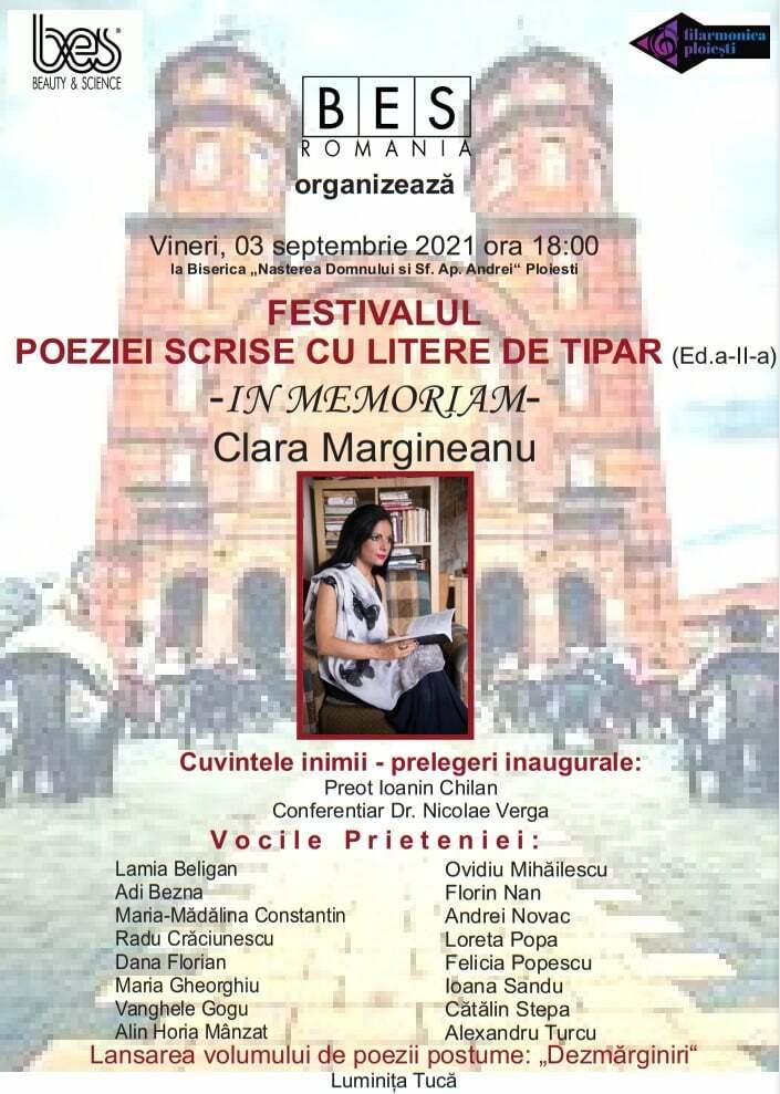 """Festivalul """"Poeziei scrise cu litere de tipar"""" organizat la Ploiești în memoria poetei Clara Mărgineanu"""